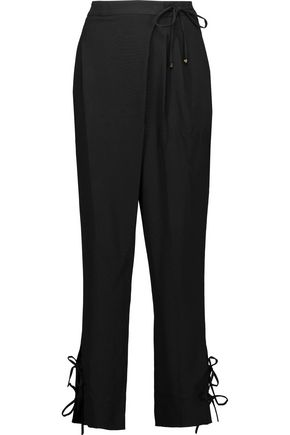 ROBERTO CAVALLI Wrap-effect crepe tapered pants