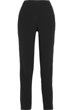 TOM FORD Silk-blend satin and crepe straight-leg pants