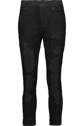 RTA Blake cropped suede straight-leg pants