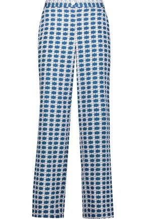 TANYA TAYLOR Selby cropped printed silk-blend wide-leg pants