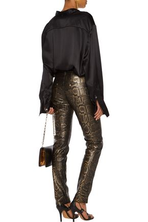 ROBERTO CAVALLI Snake-effect faux leather skinny pants