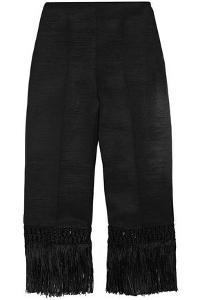EDUN Macramé-trimmed wool-blend straight-leg pants