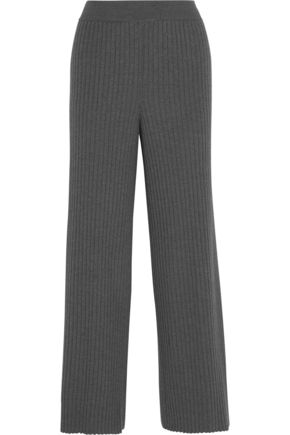 STELLA McCARTNEY Ribbed wool and silk-blend flared pants