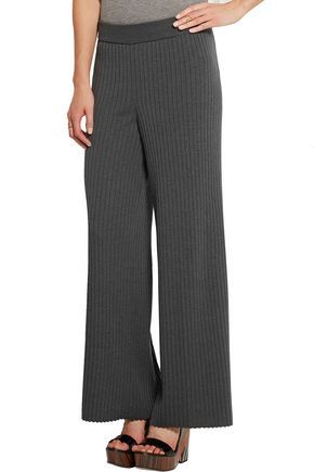 STELLA McCARTNEY Ribbed wool and silk-blend flared pants