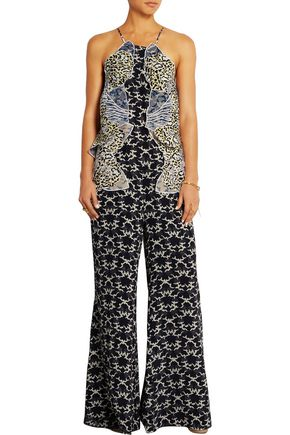 STELLA McCARTNEY Appliquéd silk crepe de chine jumpsuit