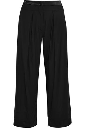 DONNA KARAN Satin-trimmed crepe wide-leg pants
