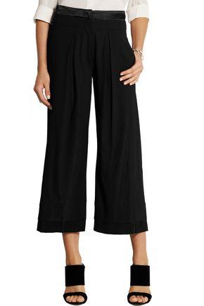 DONNA KARAN Satin-trimmed crepe wide-leg pants