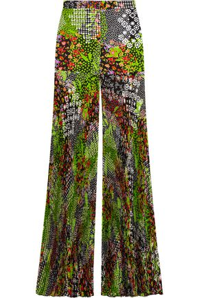 VERSACE Pleated floral-print silk-crepe wide-leg pants