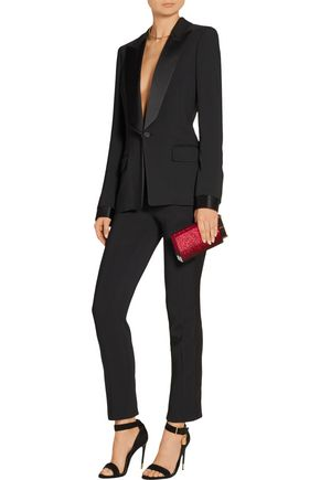 TOM FORD Satin-trimmed stretch-cady straight-leg tuxedo pants