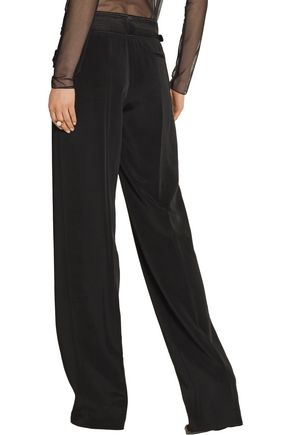 TOM FORD Pleated twill-trimmed cady wide-leg pants
