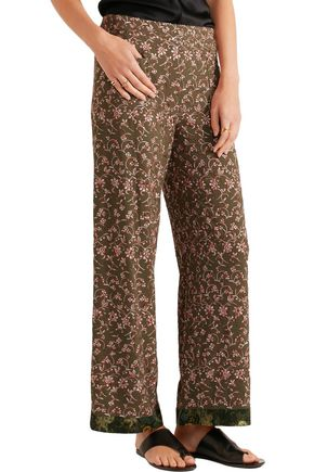 ETRO Embroidered crepe wide-leg pants