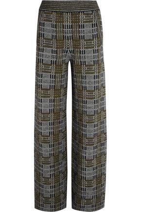 BOTTEGA VENETA Plaid stretch-knit wide-leg pants