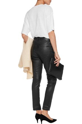 RTA Ryder crinkled-leather skinny pants