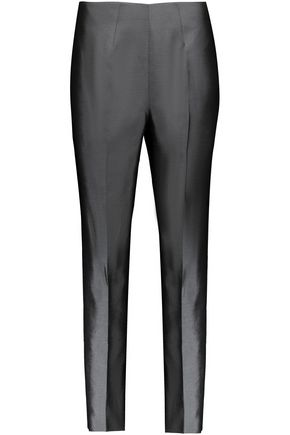 RAOUL Cropped silk-blend satin slim-leg pants