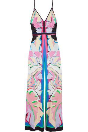 ROBERTO CAVALLI Lace-paneled printed crepe jumpsuit