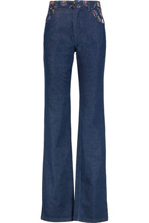 SEE BY CHLOÉ Printed crepe-paneled high-rise bootcut jeans