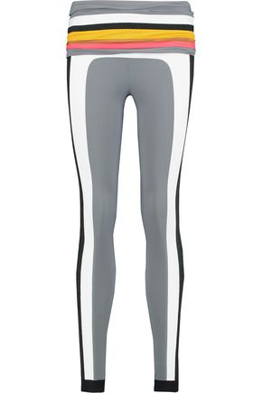 NO KA 'OI Kalia paneled metallic stretch-knit and stretch-jersey leggings