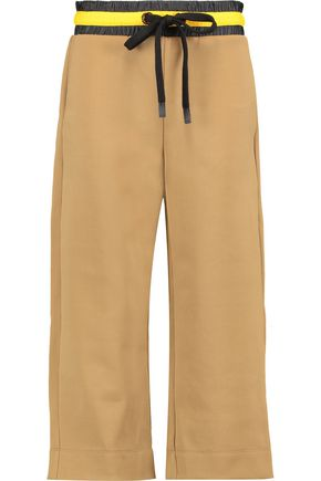 NO KA 'OI Polani cropped shell-trimmed stretch-jersey track pants