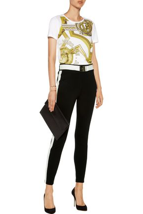 VERSACE JEANS Two-tone faux leather-trimmed ponte leggings