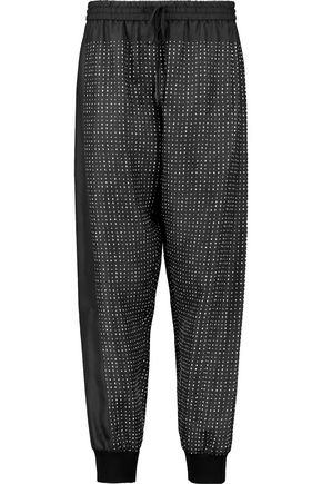 DKNY Printed silk-twill tapered pants