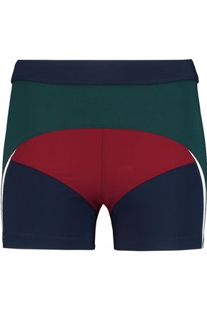 NO KA 'OI Haku paneled stretch-jersey shorts