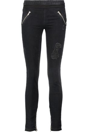 RTA Distressed cotton-blend leggings