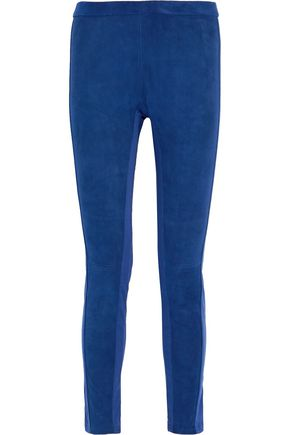 ROBERTO CAVALLI Two-tone cotton-blend poplin and suede leggings
