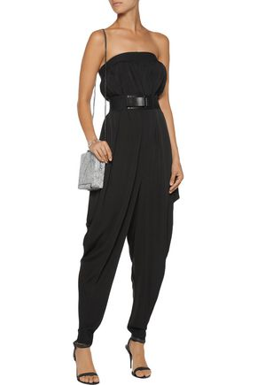 MILLY Isosocles draped stretch-silk jumpsuit
