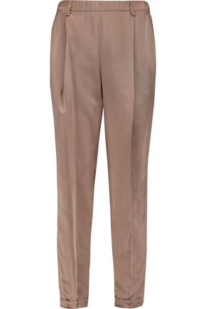 BRUNELLO CUCINELLI Cropped silk-satin tapered pants