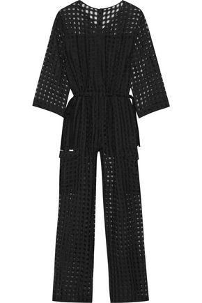 MAISON MARGIELA Checked wool and silk-blend fil coupé jumpsuit