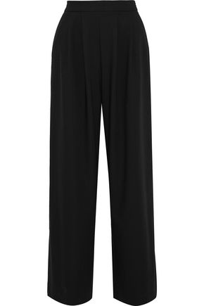 IRIS & INK Shane grosgrain-trimmed cotton-blend wide-leg pants