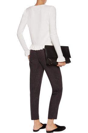 8 Pleated striped brushed-twill tapered pants