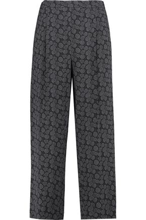 VINCE. Printed silk-blend crepe wide-leg pants