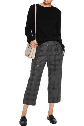 BRUNELLO CUCINELLI Cropped embellished wool-blend straight-leg pants