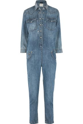 R13 Cowboy distressed denim jumpsuit