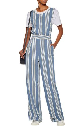 M.I.H JEANS Striped cotton-chambray jumpsuit