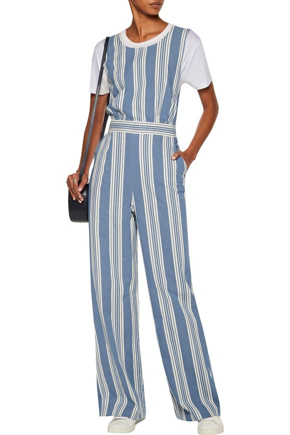 Striped cotton-chambray jumpsuit | M.I.H JEANS | Sale up to 70% off | THE  OUTNET