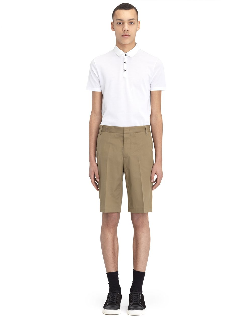 "BEIGE CHINO SHORTS WITH EMBROIDERED ""L"" - Lanvin"