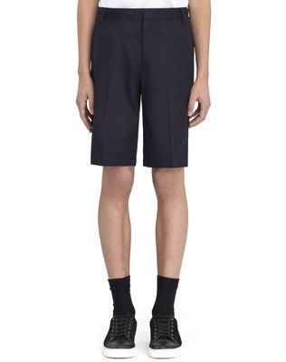 """LANVIN NAVY BLUE CHINO SHORT WITH EMBROIDERED """"L"""" Pants U f"""