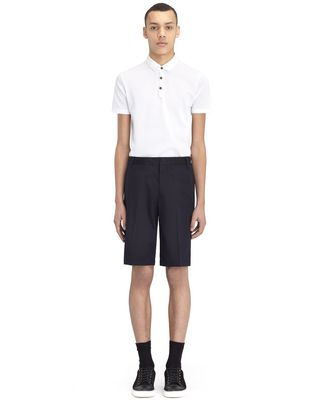 """LANVIN NAVY BLUE CHINO SHORT WITH EMBROIDERED """"L"""" Pants U r"""