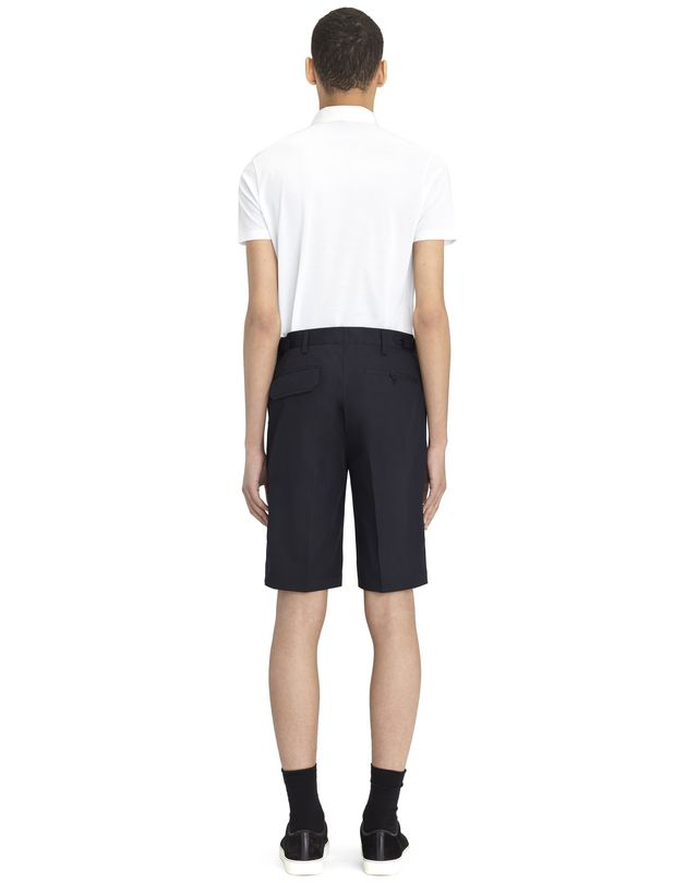 """LANVIN NAVY BLUE CHINO SHORT WITH EMBROIDERED """"L"""" Pants U d"""