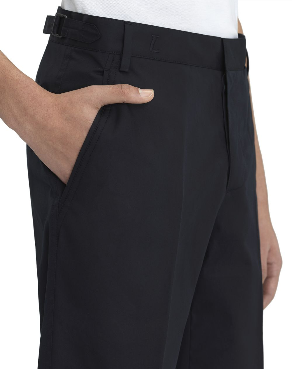 "NAVY BLUE CHINO SHORT WITH EMBROIDERED ""L"" - Lanvin"