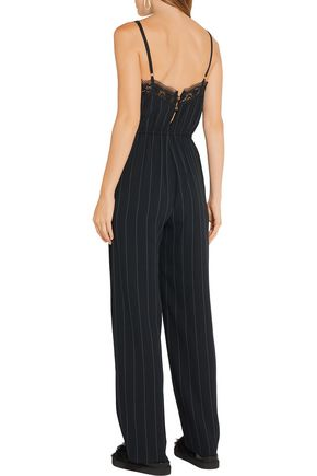 GOEN.J Lace-trimmed pinstriped crepe jumpsuit