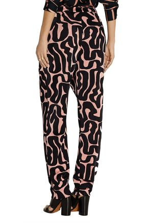 ISSA Ivy printed satin-jersey tapered pants