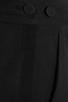 ALEXANDER MCQUEEN Cropped grosgrain-trimmed wool-crepe flared pants