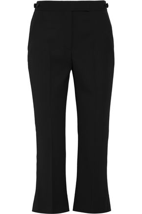 ALEXANDER MCQUEEN Cropped grosgrain-trimmed wool-crepe flared pants