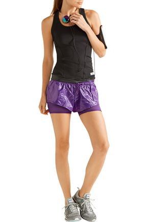 ADIDAS by STELLA McCARTNEY Layered Climalite® shell, jersey and mesh shorts