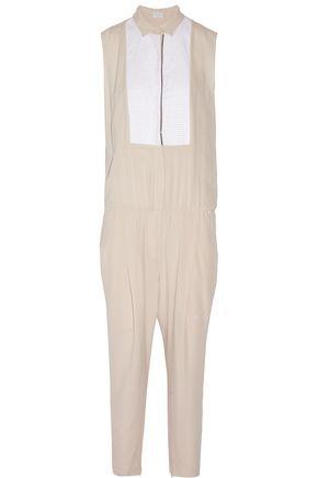 BRUNELLO CUCINELLI Bead-embellished cotton-poplin trimmed silk-chiffon jumpsuit
