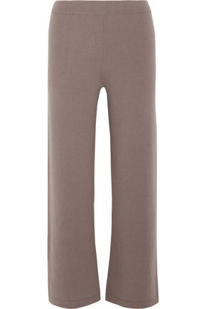 ALLUDE Cropped cashmere wide-leg pants