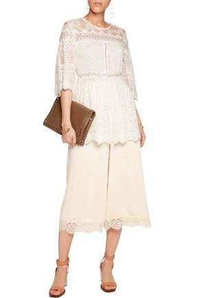 ZIMMERMANN Lace-trimmed pleated crepe culottes